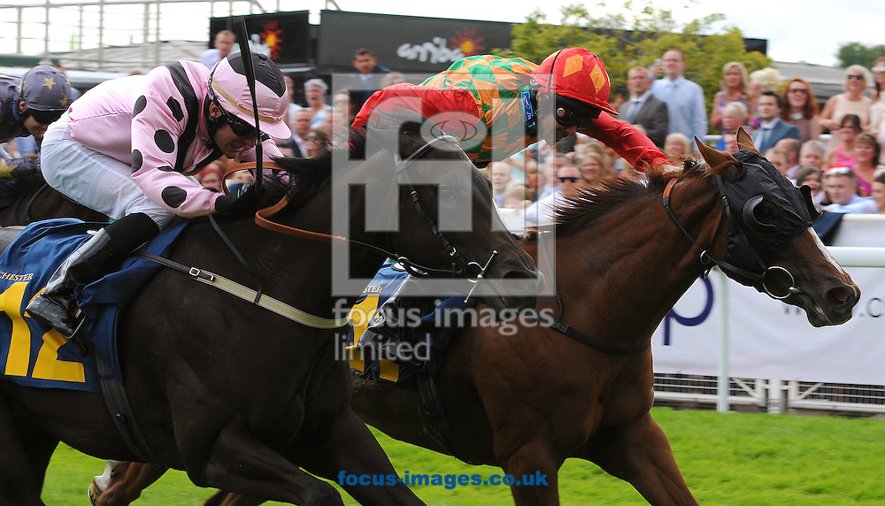 Jolly Red Jeanz and jockey Royston Ffrench (r) win The Raymond &amp; Kathleen Corbett Memorial Handicap Stakes from Kodafine (Adrian Nicholls) at Chester Racecourse , Chester<br /> Picture by Alan Wright/Focus Images Ltd 07733 196489<br /> 28/06/2014