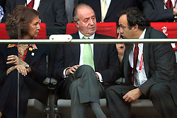 King of Spain Juan Carlos, his wife Sophia and Michel Platini, president of UEFA before the UEFA EURO 2008 Quarter-Final soccer match between Spain and Italy at Ernst-Happel Stadium, on June 22,2008, in Wien, Austria. Spain won after penalty shots 4:2. (Photo by Vid Ponikvar / Sportal Images)