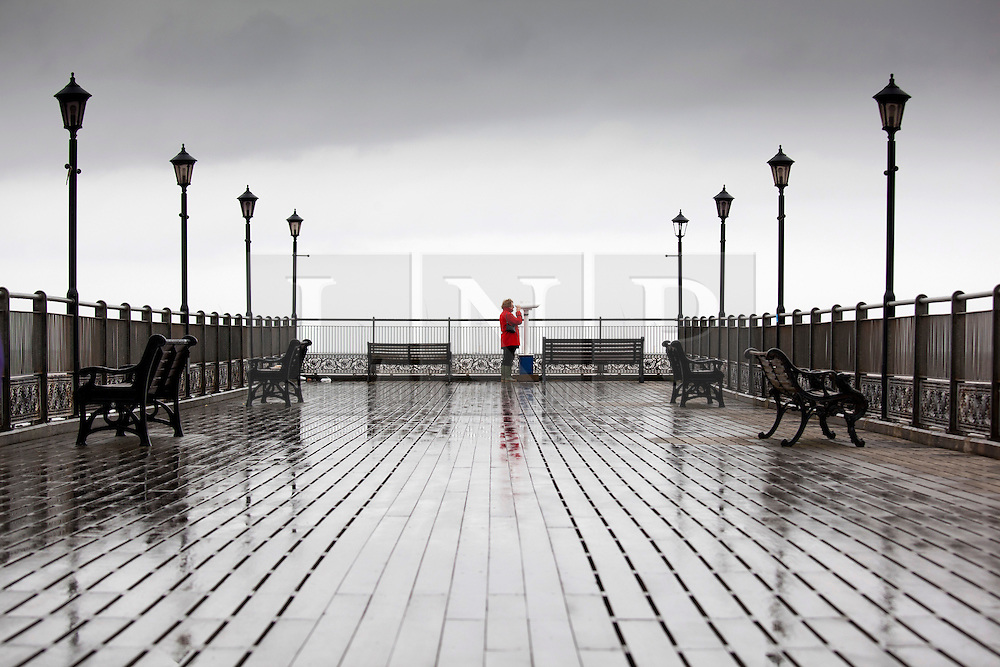 © Licensed to London News Pictures.09/04/2012, Skegness, North Lincolnshire, UK. Bank Holiday Monday weather, Skegness sea front.Cloudy and bracing, Skegness pier at Midday.Photo credit : Dave Warren/LNP