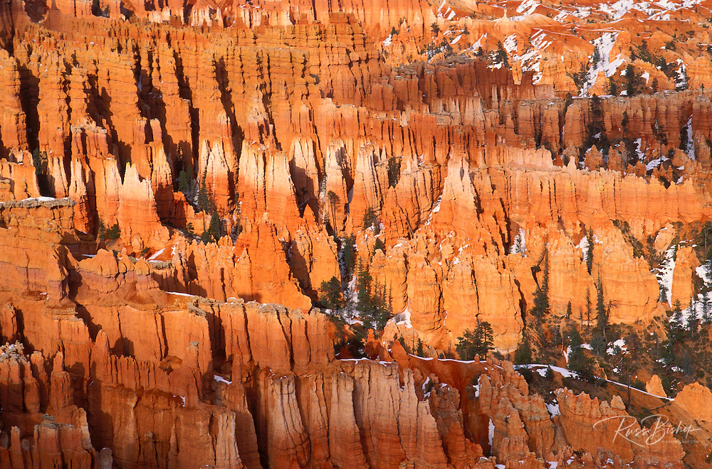 Afternoon light on rock formations below Bryce Point in winter, Bryce Canyon National Park, Utah