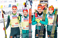 02.03.2019, Seefeld, AUT, FIS Weltmeisterschaften Ski Nordisch, Seefeld 2019, Nordische Kombination, Langlauf, Team Bewerb 4x5 km, im Bild Vinzenz Geiger (GER), Eric Frenzel (GER), Johannes Rydzek (GER), Fabian Riessle (GER) // Vinzenz Geiger of Germany Eric Frenzel of Germany Johannes Rydzek of Germany Fabian Riessle of Germany during the Cross Country Team competition 4x5 km of Nordic Combined for the FIS Nordic Ski World Championships 2019. Seefeld, Austria on 2019/03/02. EXPA Pictures © 2019, PhotoCredit: EXPA/ Stefanie Oberhauser