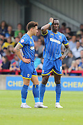 David Fitzpatrick forward for AFC Wimbledon (19) and Ade Azeez forward for AFC Wimbledon (14) in action during Sky Bet League 2 match between AFC Wimbledon and Newport County at the Cherry Red Records Stadium, Kingston, England on 7 May 2016. Photo by Stuart Butcher.