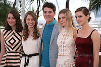 Katie Chang, Georgia Rock, Israel Broussard, Claire Julien, Emma Watson, at the Bling Ring film photocall at the Cannes Film Festival 16th May 2013. The Bling Ring is directed by Sofia Coppola and in Un Certain Regard category of the festival.