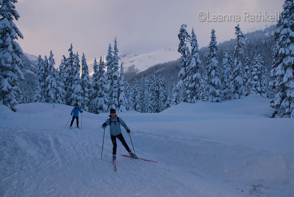 Sunset Cross-Country Ski: The Callaghan Country ski lodge is located 10 minutes south of Whistler, BC Canada, up the Callaghan Valley and next to the Whistler Olympic Park.