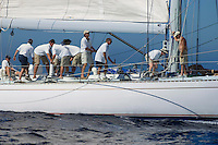 Crew working on sailboat