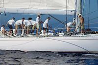 Crew working on sailboat