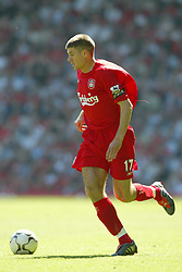 LIVERPOOL, ENGLAND: Saturday, May 15, 2004: Liverpool's Steven Gerrard in action against Newcastle United during the final Premiership game of the season at Anfield. (Pic by David Rawcliffe/Propaganda)