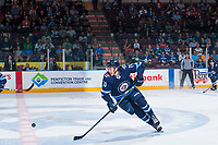 PENTICTON, CANADA - SEPTEMBER 8: Leo Gawanke #70 of Winnipeg Jets skates for the puck against the Vancouver Canucks on September 8, 2017 at the South Okanagan Event Centre in Penticton, British Columbia, Canada.  (Photo by Marissa Baecker/Shoot the Breeze)  *** Local Caption ***