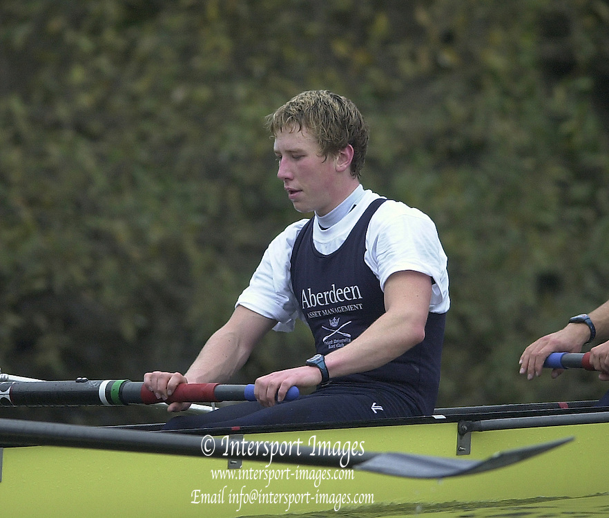148th Boat Race Trail Eight's.Oxford University Boat Club (OUBC).Putney to Mortlake- The Championship Course.2 Nicholas Tuppen (GBR), Varsity Boat Race [Mandatory Credit  Peter Spurrier; Intersport Images] 20011213 Oxford University Boat Club,  Trial Eights, Putney to Mortlake, London, UK