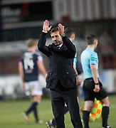 24th November 2017, Dens Park, Dundee, Scotland; Scottish Premier League football, Dundee versus Rangers; Dundee manager Neil McCann applauds the fans at full time
