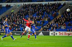 Jonathan Kodjia of Bristol City sees his header towards goal saved by David Marshall of Cardiff City  - Mandatory byline: Joe Meredith/JMP - 07966 386802 - 26/10/2015 - FOOTBALL - Cardiff City Stadium - Cardiff, Wales - Cardiff City v Bristol City - Sky Bet Championship