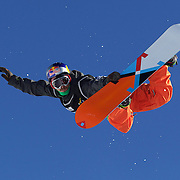 Manuel Pietropoli, Italy, flying high during his ninth place finish during the Men's Half Pipe Finals in the LG Snowboard FIS World Cup, during the Winter Games at Cardrona, Wanaka, New Zealand, 28th August 2011. Photo Tim Clayton...