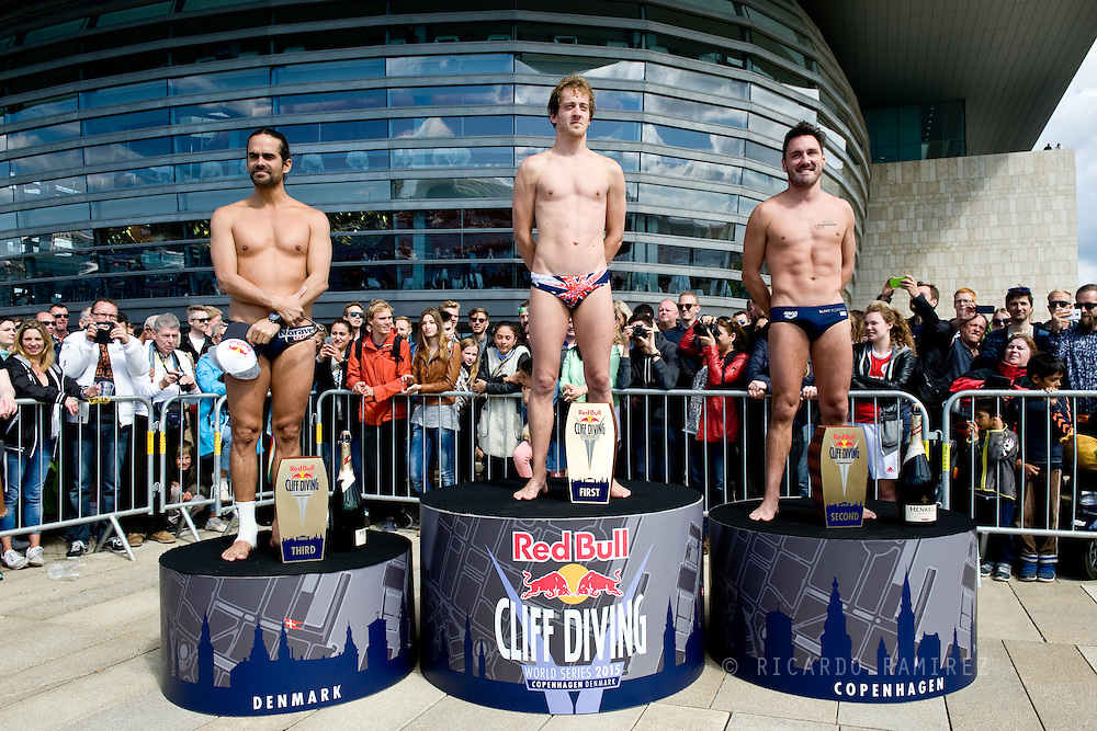 20.06.15. Copenhagen, Denmark.Gary Hunt won the first place of Red Bull Cliff Diving World Series in Copenhagen, in the second place Brit Blake Aldridge and Colombia's veteran Orlando Duque remained in third place.A total of 14 divers took part in the contest jumping from the 28 metre platform atop the Copenhagen Opera House.Photo:© Ricardo Ramirez