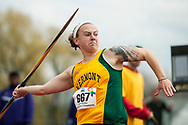 UVM's Nika Ouellette throws the javelin during the first day of the America East Track and Field Championship at the Frank H. Livak Track and Field Facility on Saturday May 3, 2014 in Burlington, Vermont. (BRIAN JENKINS, for the Free Press)