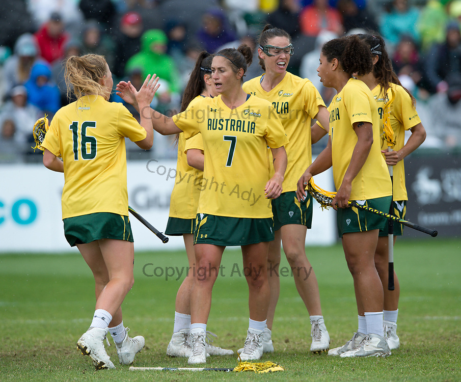Australia's Hannah Neilson at the 2017 FIL Rathbones Women's Lacrosse World Cup, at Surrey Sports Park, Guildford, Surrey, UK, 22nd July 2017.