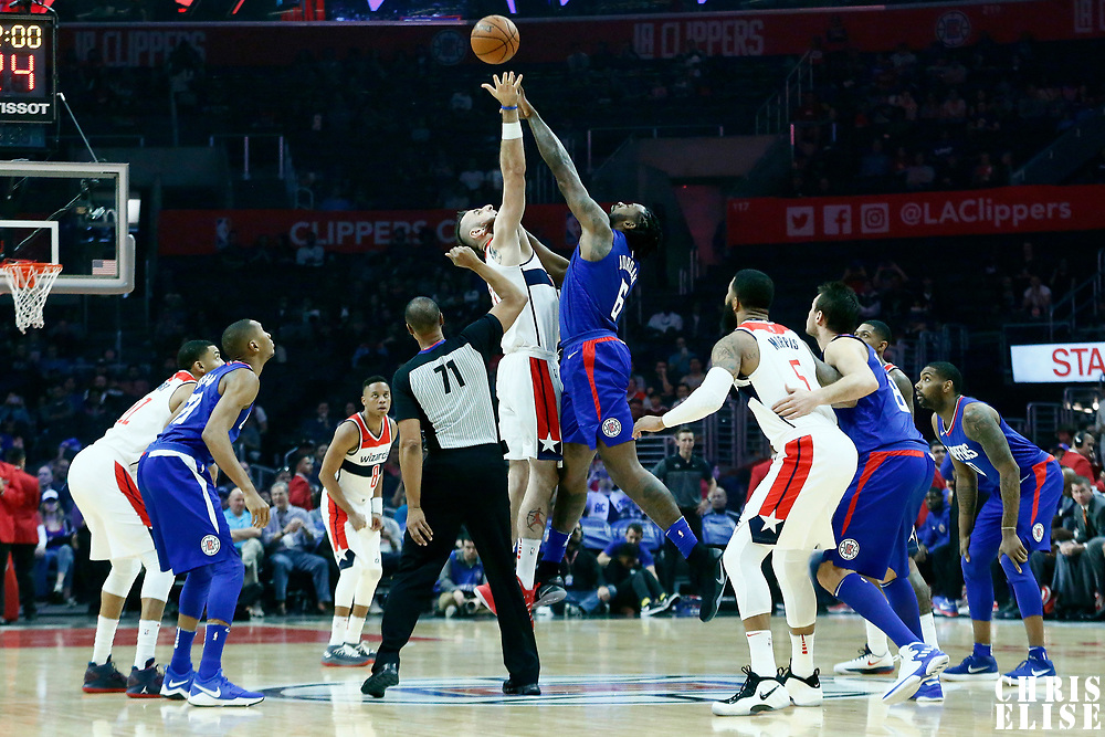 09 December 2017: Jump ball between LA Clippers center DeAndre Jordan (6) and Washington Wizards center Marcin Gortat (13) during the LA Clippers 113-112 victory over the Washington Wizards, at the Staples Center, Los Angeles, California, USA.