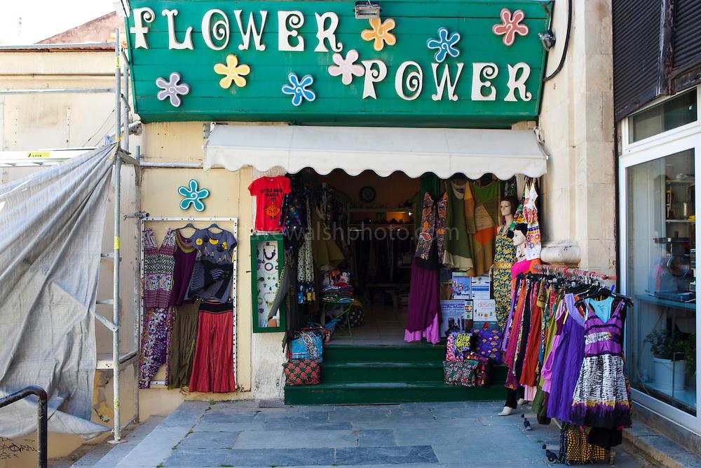 """Flower Power"" shop at Xania Market, Crete, Greece. Hippy fashion clothes shop at Chania's municipal market."