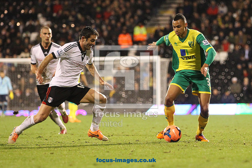 Picture by Paul Chesterton/Focus Images Ltd +44 7904 640267<br /> 14/01/2014<br /> Giorgos Karagounis of Fulham and Josh Murphy of Norwich in action during The FA Cup 3rd Round Replay match at Craven Cottage, London.