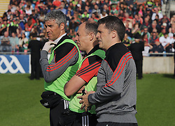 Part of Mayo&rsquo;s backroom team Dr Sean Moffat, Martin McIntyre Physio and selector Sean Carey<br />