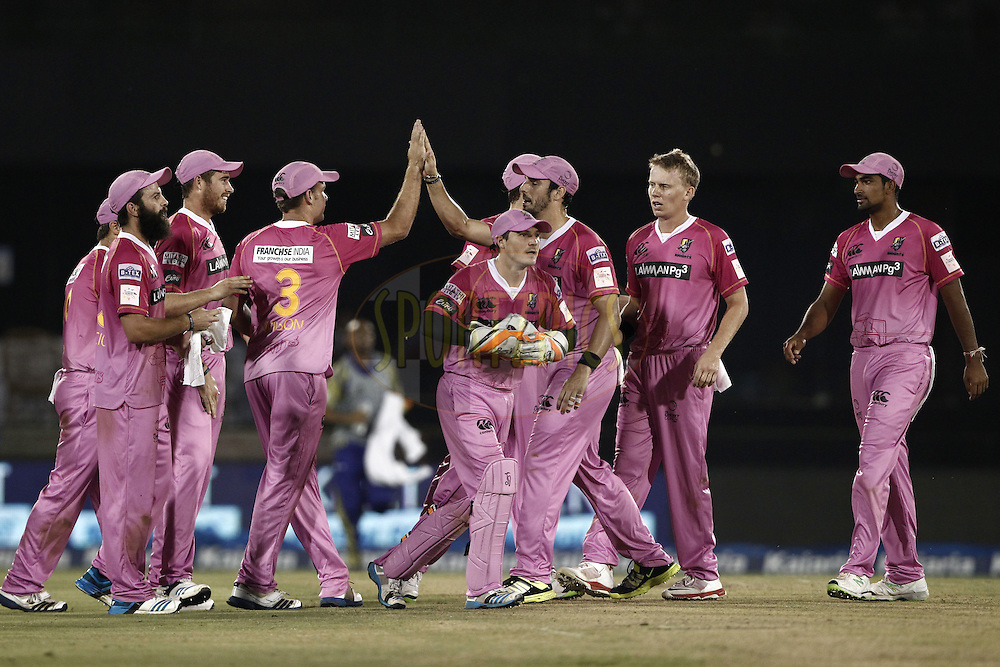 Scott Kuggeleijn of the NORTHERN KNIGHTS celebrates the wicket of Hashim Amla of Cape Cobras during match 3 of the Oppo Champions League Twenty20 between the Cape Cobras and the Northern Knights held at the Chhattisgarh International Cricket Stadium, Raipur, India on the 19th September 2014<br /> <br /> Photo by:  Deepak Malik / Sportzpics/ CLT20<br /> <br /> <br /> Image use is subject to the terms and conditions as laid out by the BCCI/ CLT20.  The terms and conditions can be downloaded here:<br /> <br /> http://sportzpics.photoshelter.com/gallery/CLT20-Image-Terms-and-Conditions-2014/G0000IfNJn535VPU/C0000QhhKadWcjYs