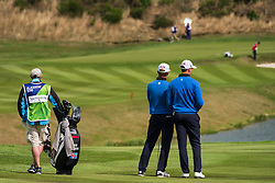Gleneagles, Scotland, UK; 10 August, 2018.  Day three of European Championships 2018 competition at Gleneagles. Men's and Women's Team Championships Round Robin Group Stage. Four Ball Match Play format.  Pictured; Iceland team wait to play approach shots to 9th green