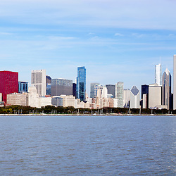 Chicago panorama of downtown Chicago city skyline taken in late 2011. Panoramic ratio is 3:1 with dimensions of 12,000 x 4,000.