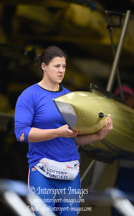 Caversham  Great Britain.<br /> Rebbeca CHIN, carries her boat out from the boathouse at the <br /> 2016 GBR Rowing Team Olympic Trials GBR Rowing Training Centre, Nr Reading  England.<br /> <br /> Wednesday  23/03/2016 <br /> <br /> [Mandatory Credit; Peter Spurrier/Intersport-images]