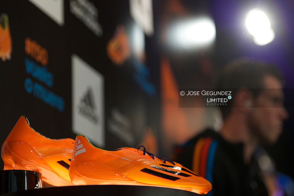 Gareth Bale presents his new boots Adidas Predator at Adidas Santiago Bernabeu Store on March 13, 2014 in Madrid