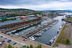 Aerial view of James Watt Dock Marina in Greenock on River Clyde, Inverclyde, Scotland, UK