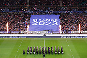 France 2023 World Rugby Cup giant flag in stands and musicians of Garde Republican on the playground during the 2017 Autumn Test Match between France and New Zealand on November 11, 2017 at Stade de France in Saint-Denis, France - Photo Stephane Allaman / ProSportsImages / DPPI