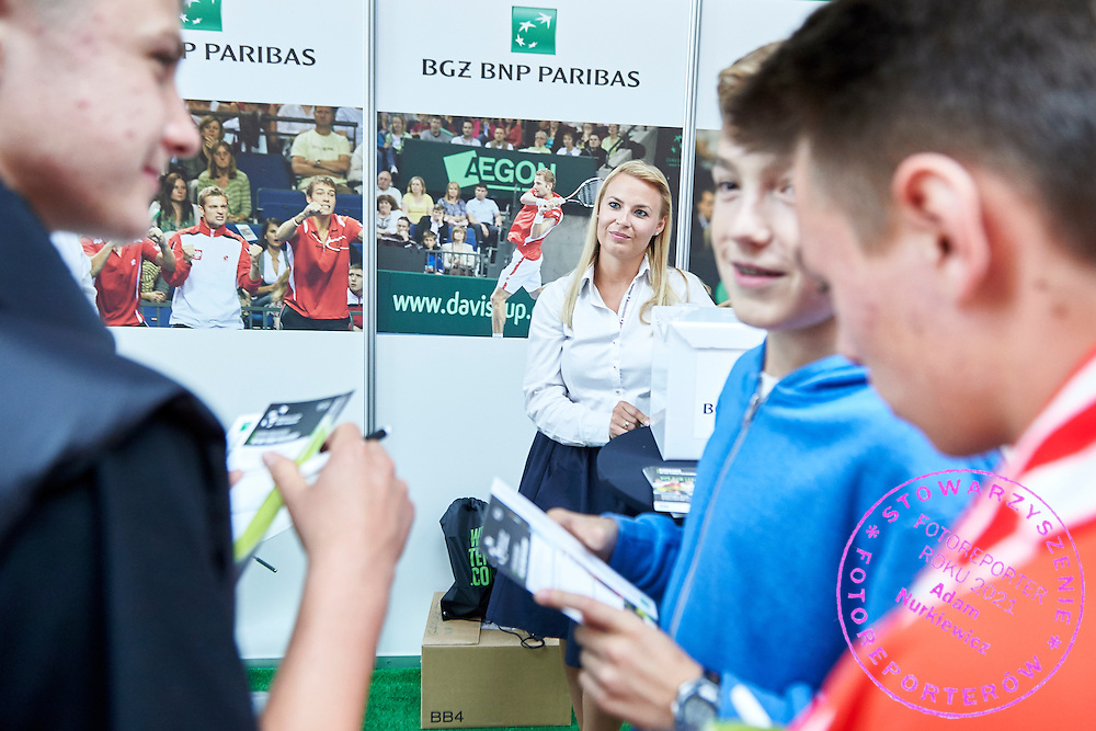 BNP Paribas stand in commercial area during Davis Cup Tie World Group Play-off Poland v Slovakia at Gdynia Arena Hall in Gdynia, Poland.<br /> <br /> Poland, Gdynia, September 20, 2015<br /> <br /> Picture also available in RAW (NEF) or TIFF format on special request.<br /> <br /> For editorial use only. Any commercial or promotional use requires permission.<br /> <br /> Adam Nurkiewicz declares that he has no rights to the image of people at the photographs of his authorship.<br /> <br /> Mandatory credit:<br /> Photo by &copy; Adam Nurkiewicz / Mediasport