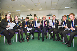 Pictured: Sophie Gardiner, Amy Jackson, Nairn Ross, Callum Brown, John Swinney, Alistair Hampton, Lewis Britain and Kyle Rowan<br /> <br /> Education Secretary  John Swinney visited Firrhill School today and met students and parents as the results wer available for opening.<br /> <br /> <br /> Ger Harley | EEm 7 August 2018