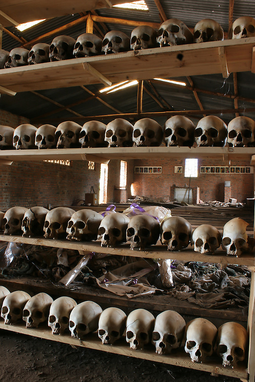 In 2005 remains of victims of the genocide in Rwanda remained on the floor of the Nyamata Church, 35 kilometers outside of Kigali. <br /> On April 10, 1994,  approximately 10,000 people who  sought protection in the Nyamata Church were massacred.<br /> The church remains a memorial.