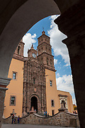 Parroquia Nuestra Señora de Dolores Catholic Church in English the Church of our Lady of Sorrows in the Plaza Principal, Dolores Hidalgo, Guanajuato, Mexico. The church is the site where Independence leader Miguel Hidalgo issued the now world famous Grito - a call to arms for Mexican independence from Spain.