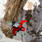 Griffin Post drops into S & S Couloir inbounds at Jackson Hole Mountain Resort.