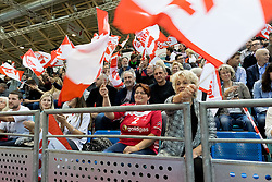 02.11.2016, Arena Nova, Wiener Neustadt, AUT, EHF, Handball EM Qualifikation, Österreich vs Finnland, Gruppe 3, im Bild Fans von Österreich mit Stiegl Fahnen // during the EHF Handball European Championship 2018, Group 3, Qualifier Match between Austria and Finland at the Arena Nova, Wiener Neustadt, Austria on 2016/11/02. EXPA Pictures © 2016, PhotoCredit: EXPA/ Sebastian Pucher