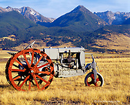 1938 Case RC Tractor with Absaroka Mtountains in background restored by Mike West of emigrant, Montana
