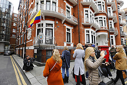 May 19, 2017 - London, London, UK - London, UK.  Police and media at the Ecuadoran embassy in London where Wikileaks founder Julian Assange has been living since 2012. Today the Swedish authorities have announced that they are dropping their investigation into rape allegations against him. (Credit Image: © Tolga Akmen/London News Pictures via ZUMA Wire)