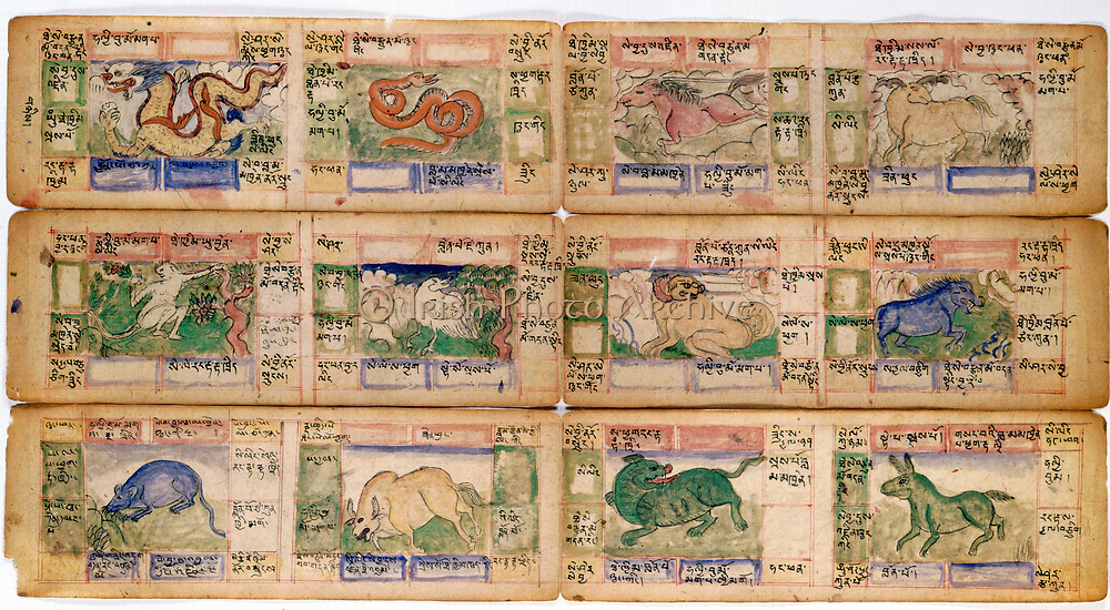 Chinese Zodiac figures. From late 18th century Tibetan manuscript.