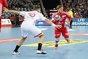 Luka Cindric (Croatia) and Artsiem Karalek (Belarus) during the EHF 2018 Men's European Championship, 2nd Round, Handball match between Croatia and Belarus on January 18, 2018 at the Arena in Zagreb, Croatia - Photo Laurent Lairys / ProSportsImages / DPPI