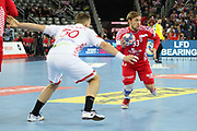 Luka Cindric (Croatia) and Artsiem Karalek (Belarus) during the EHF 2018 Men's European Championship, 2nd Round, Handball match between Croatia and Belarus on January 18, 2018 at the Arena in Zagreb, Croatia - Photo Laurent Lairys / ProSportsImages / DPPI