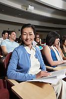 Mature female student in class, portrait