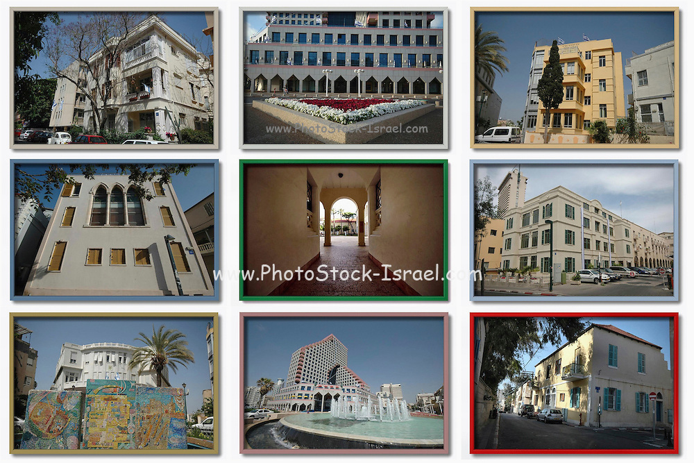 9 image collage of architecture in Tel Aviv, Israel, 2006