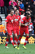 Picture by Daniel Chesterton/Focus Images Ltd +44 7966 018899.16/03/2013.Rickie Lambert of Southampton celebrates scoring his side's second goal with Jay Rodriguez of Southampton during the Barclays Premier League match at the St Mary's Stadium, Southampton.