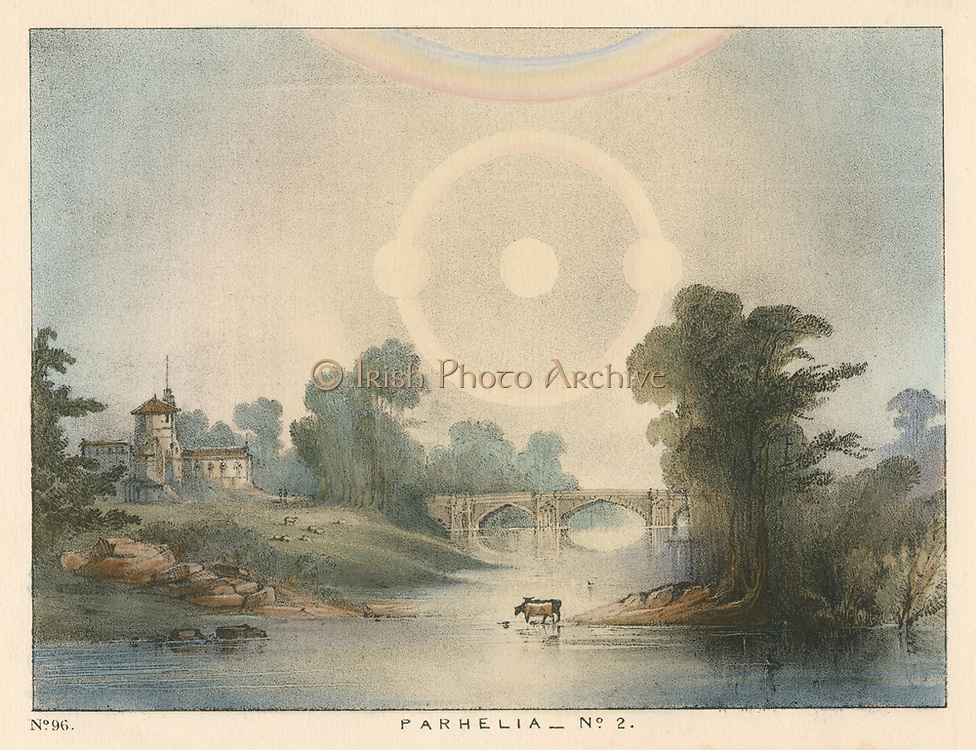 Parhelia (Mock Suns) combined with halo and rainbow.  This phenomenon , caused by atmospheric refraction, was observed in England in 1721.  From 'The Beauty of the Heavens', Charles F Blunt, (London, 1845). Coloured lithograph.