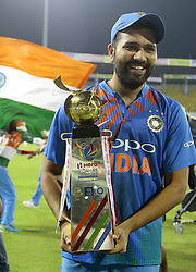 March 18, 2018 - Colombo, Sri Lanka - Indian captain Rohit Sharma poses with the NIDAHAS Trophy during the final Twenty-20 cricket match of NIDAHAS Trophy  between Bangladesh and India at R Premadasa cricket ground, Colombo, Sri Lanka on Sunday 18 March 2018. (Credit Image: © Tharaka Basnayaka/NurPhoto via ZUMA Press)