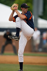 Virginia Cavaliers pitcher Jacob Thompson (25) pitching against OSU.  The Virginia Cavaliers defeated the Oregon State Beavers 7-4 in 13 innings during Game 4 of the NCAA World Series Regionals held at Davenport Field in Charlottesville, VA on June 2, 2007.