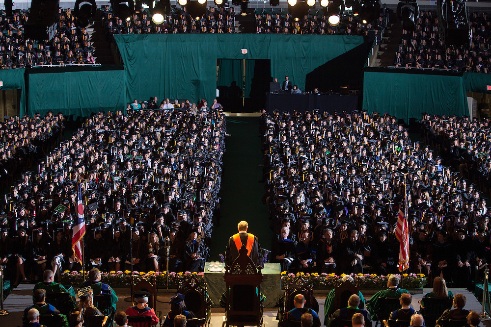Charles R. Stuckey Jr. delivers the commencement address providing students with lessons he learned throughout his life.  Stuckey spoke at the Ohio University Commencement ceremony Saturday May 3, 2014 .  Photo by Ohio University / Jonathan Adams