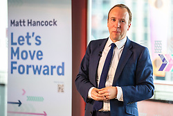 © Licensed to London News Pictures. 10/06/2019. London, UK. Secretary of State for Health and Social Care Matt Hancock, who is running to be the next Leader of the Conservative Party and Prime Minister, speaks at his official campaign launch in London. Photo credit: Rob Pinney/LNP