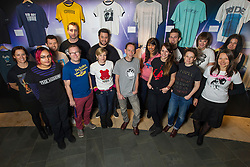 © Licensed to London News Pictures. 18/11/2013. London, UK. Presenter Steve Lamacq and the team from the British Music Experience launch an exhibition of Steve's favourite band t-shirts in celebration of BBC Radio 6 Music's 'Wear Your Old Band T-Shirt to Work Day' on Friday 22 November.  BBC Radio 6 Music and the British Music are encouraging everyone to get involved on Friday 22 November by wearing their favourite band t-shirt to work. Photo credit : David Fearn/LNP